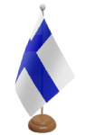 Finland Desk / Table Flag with wooden stand and base